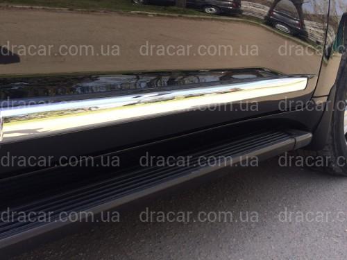 Молдинги на двери Toyota Land Cruiser 200 2007-2015  модель рестайлинг 2012 цвет  черный (широкие 15см) артикул 3064